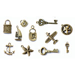 FabScraps - Metal Embellishments Box - Charms - Old Brass 1