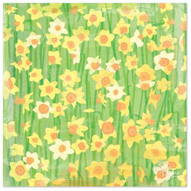 Flair Designs - Easter Surprise Collection - 12x12 Paper  - Daffodil Daze, CLEARANCE