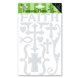 Flair Designs - Fantastic Plastic with Flair - Self Adhesive Transparent Plastic - Faith Shapes, CLEARANCE
