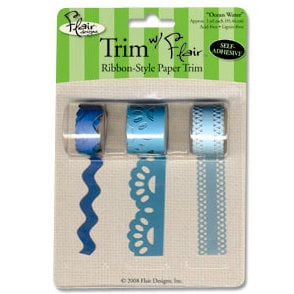 Flair Designs - Trim with Flair - Self Adhesive Paper Trim - Ocean Water, CLEARANCE