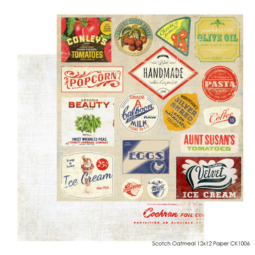 FarmHouse Paper Company - Country Kitchen Collection - 12 x 12 Double Sided Paper - Scotch Oatmeal