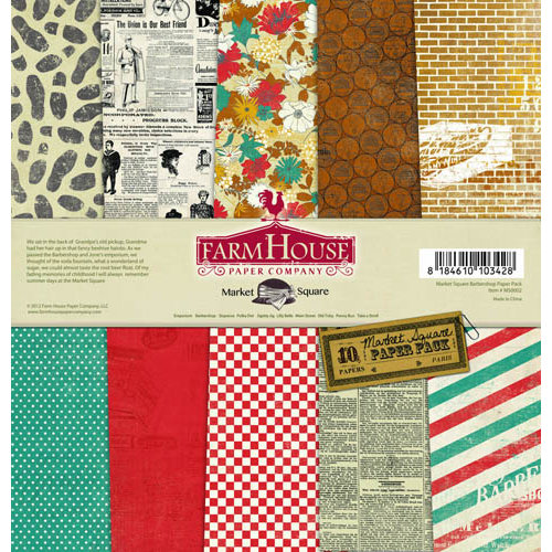 FarmHouse Paper Company - Market Square Collection - 12 x 12 Paper Pack - Barbershop