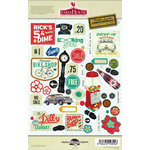 FarmHouse Paper Company - Market Square Collection - Chipboard Stickers - Barbershop
