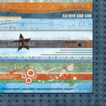 Fancy Pants Designs - Like Father Like Son Collection - 12 x 12 Double Sided Paper - Strips