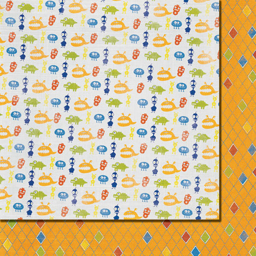 Fancy Pants Designs - To the Moon Collection - 12 x 12 Double Sided Paper - Aliens