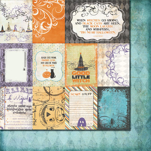Fancy Pants Designs - Oct 31st Collection - Halloween - 12 x 12 Double Sided Paper - Oct 31st Cards