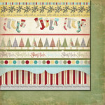 Fancy Pants Designs - Saint Nick Collection - Christmas - 12 x 12 Double Sided Paper - Saint Nick Strips