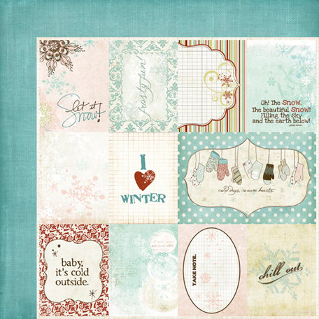 Fancy Pants Designs - Winterland Collection - 12 x 12 Double Sided Paper - Winterland Cards