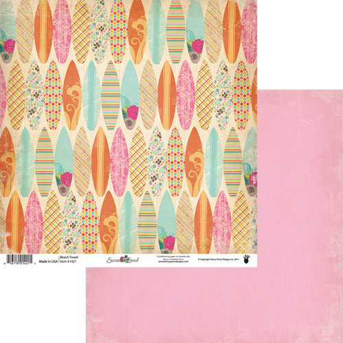 Fancy Pants Designs - Summer Soul Collection - 12 x 12 Double Sided Paper - Beach Towel