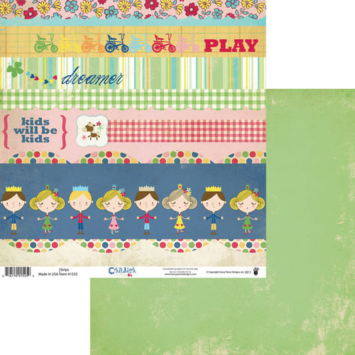 Fancy Pants Designs - Childish Things Collection - 12 x 12 Double Sided Paper - Strips