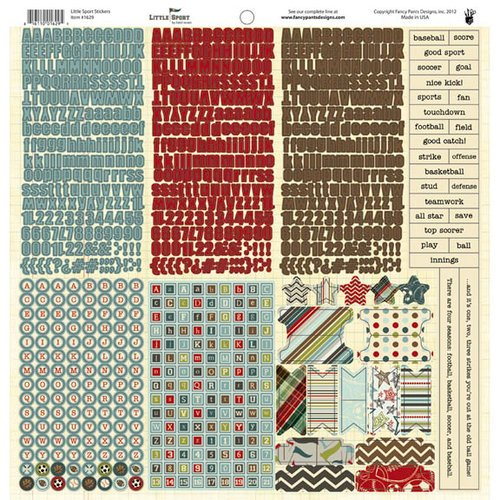 Fancy Pants Designs - Little Sport Collection - 12 x 12 Cardstock Stickers - Fundamentals