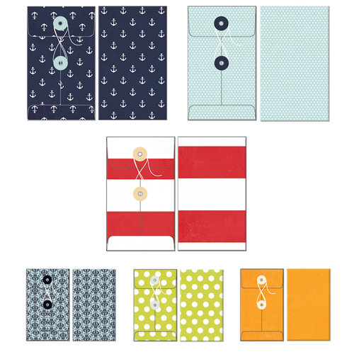 Fancy Pants Designs - Down by the Shore Collection - Patterned Envelopes