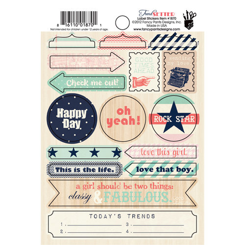 Fancy Pants Designs - Trend Setter Collection - Cardstock Stickers - Labels