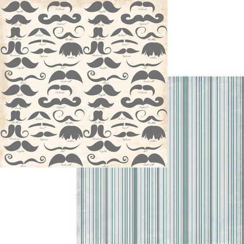Fancy Pants Designs - Swagger Collection - 12 x 12 Double Sided Paper - Mustache Fever