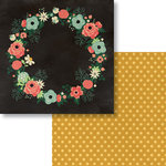Fancy Pants Designs - Burlap and Bouquets Collection - 12 x 12 Double Sided Paper - Floral Wreath