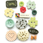 Fancy Pants Designs - Burlap and Bouquets Collection - Button Set