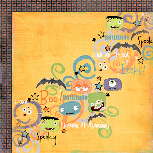 Fancy Pants Designs - Trick or Treat Collection - Halloween - 12 x 12 Double Sided Paper - Ghoul Talk