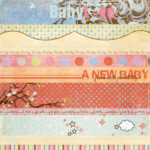 Fancy Pants Designs - Little Sprout Collection - 12 x 12 Double Sided Paper - Little Sprout Strips, CLEARANCE