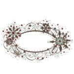 Fancy Pants Designs - Christmas Magic Collection - Glitter Cuts Tranparencies - Oval Snow Frame