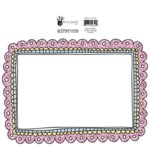 Fancy Pants Designs - Dancing Girl Collection - Glitter Cuts Transparencies - Pink Scallop Frame , CLEARANCE