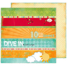 Fancy Pants Designs - Summer Soiree Collection - 12 x 12 Double Sided Paper - Strips
