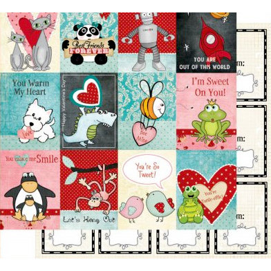 Fancy Pants Designs - Splendid Collection - 12 x 12 Double Sided Paper - Valentine's Cards