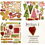 Fancy Pants Designs - Happy Holidays Collection - Self Adhesive Chipboard Shapes, CLEARANCE
