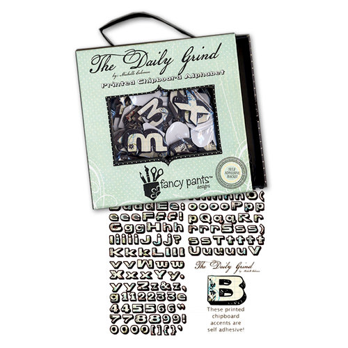 Fancy Pants Designs - The Daily Grind Collection - Self Adhesive Chipboard Alphabets, CLEARANCE