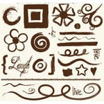 Fancy Pants Designs - 6x6 Acrylic Stamps - Brushed Designs, CLEARANCE