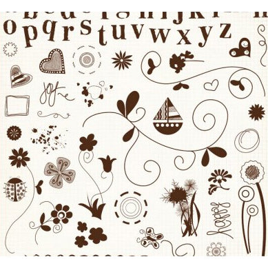 Fancy Pants Designs - 12x12 Acrylic Stamps - Doodles and Things, CLEARANCE