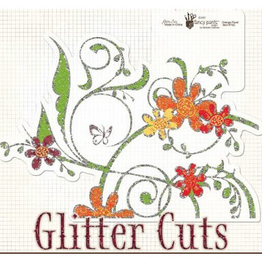 Fancy Pants Designs - Glitter Cuts Transparencies - Orange Floral