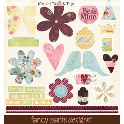 Fancy Pants Designs - Crush Collection - Valentine's Day - Titles and Tags