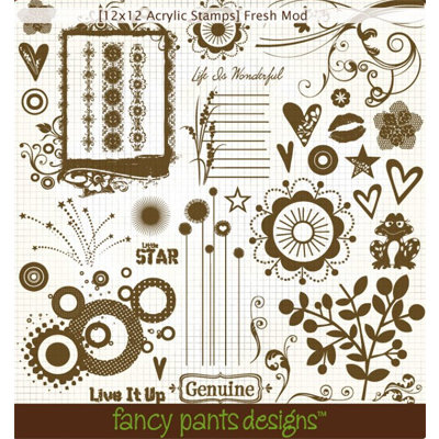 Fancy Pants Designs - 12x12 Acrylic Stamps - Fresh Mod