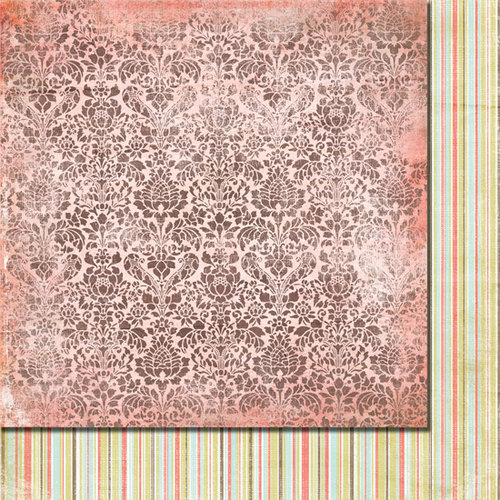 Fancy Pants Designs - Lilac House Collection - 12 x 12 Double Sided Paper - Rose Damask, CLEARANCE
