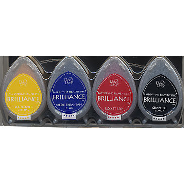 Tsukineko - Dew Drop Brilliance Fast Drying Pigment Ink - Basic Colors Set
