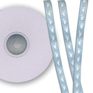 Darice - Bulk Bargain - Baby Feet Light Blue Ribbon - 25 Yards - Three Eighths Inch