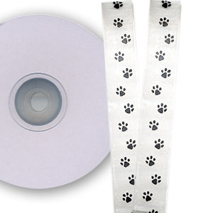 Darice - Bulk Bargain - White and Black Paw Print Ribbon - 25 Yards - Five Eighths Inch