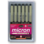 Sakura Pen Set - Micron 6 piece Black ink set - Six Different Point Sizes