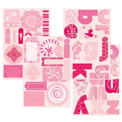 GCD Studios - Rose Colored Glasses Collection - Self Adhesive Die Cut Chipboard - Rose Colored Glasses - Baby - Girl, CLEARANCE