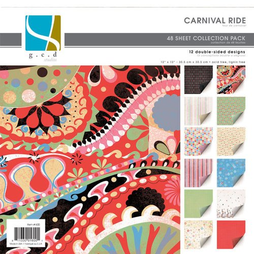 GCD Studios - Carnival Ride Collection - 12x12 Double Sided Paper Collection Pack - Carnival Ride - Teen - Family - Birthday , CLEARANCE