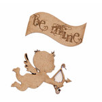 Grapevine Designs and Studio - Chipboard Shapes - Small Cherub with Be Mine Banner