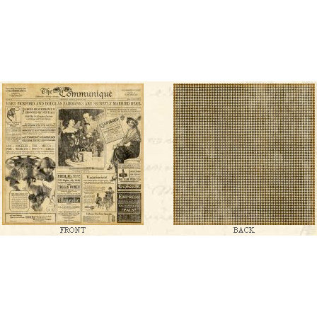 Graphic 45 - Communique Collection - 12 x 12 Double Sided Paper - Society Page