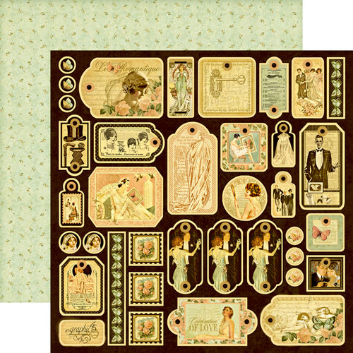 Graphic 45 - Le Romantique Collection - 12 x 12 Die Cuts - Tags
