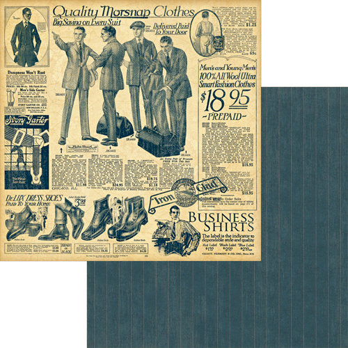 Graphic 45 - A Proper Gentleman Collection - 12 x 12 Double Sided Paper - Dressed to the Nines