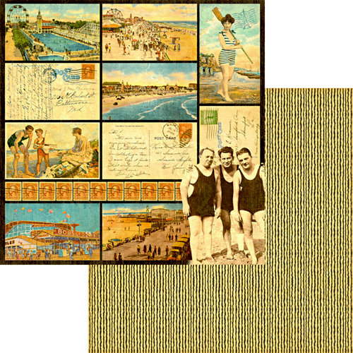 Graphic 45 - On the Boardwalk Collection - 12 x 12 Double Sided Paper - Coney Island