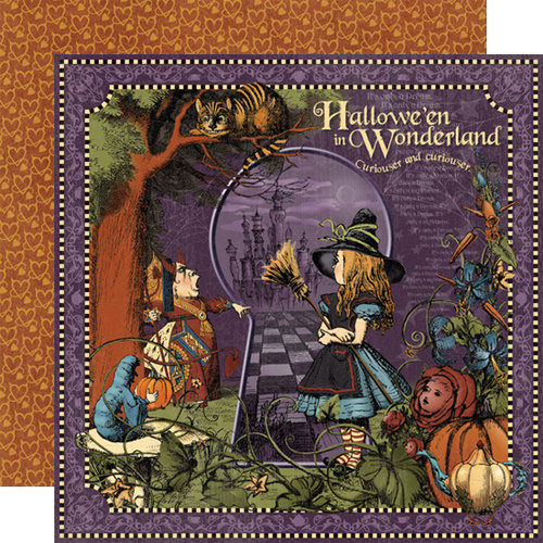 Graphic 45 - Hallowe'en in Wonderland Collection - 12 x 12 Double Sided Paper - Hallowe'en in Wonderland