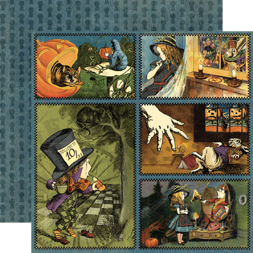 Graphic 45 - Hallowe'en in Wonderland Collection - 12 x 12 Double Sided Paper - Through the Looking Glass