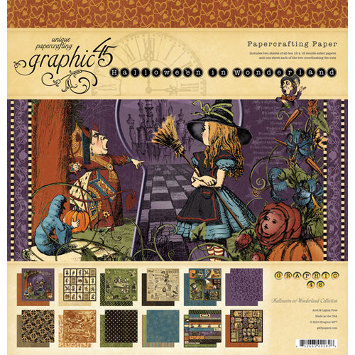 Graphic 45 - Hallowe'en in Wonderland Collection - 12 x 12 Paper Pad