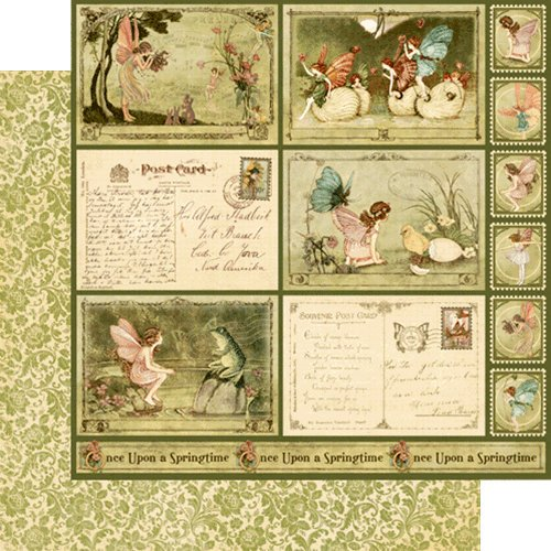 Graphic 45 - Once Upon a Springtime Collection - 12 x 12 Double Sided Paper - Woodland Fantasy