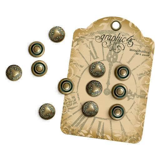 Graphic 45 - Staples Collection - Metal Buttons